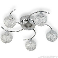 Ceiling Lamp Glass 5 Globe Lights Wire Ball Pendant Light Stainless Steel Iron