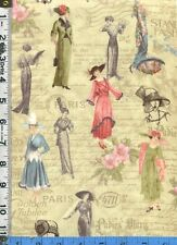 Fabric Wilmington LADIES DIARY Vintage 20s WWI PARIS fashions hats on green BTHY