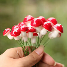 20X Mini Red Mushroom Micro Fairy Garden Decor Ornament Bonsai DIY Craft Fashion