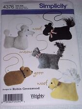 Simplicity Sewing Pattern 4376 Make Animal Bags Shoulder Hand Bags