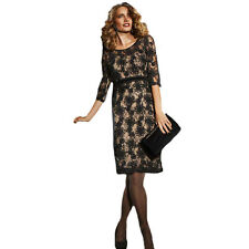 NEW Ladies M&S Lace Dress Party RRP £75 Long Sleeve Black Size 16