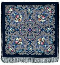 "Russian Pavlovo-Posad Shawl/wrap""Mistery of Heart"" 100%wool125x125cm Blue"