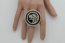 New Women Big Gold Metal Round Ring Fashion Jewelry Silver Panther Tiger Leopard