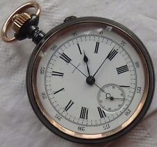 Longines Chronograph Chronometer open face gun case 52,5 mm in diameter