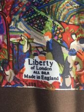 """Liberty Of London All Silk Scarf England Made 48"""" Square Brown Pink Grn Abstract"""