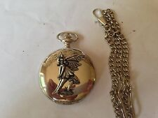 C9   Sitting Fairy polished silver case mens GIFT quartz pocket watch fob