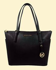 MICHAEL KORS JET SET Black Saffiano Leather LG Tote Bag Msrp $268