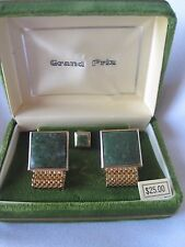 Swank Grand Prix Gold-Tone and Jade Cufflinks / Tie Tack in Original Box, NOS