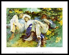 John Singer Sargent the siesta póster imagen son impresiones artísticas en el marco de aluminio 28x36cm