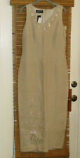 Donna Morgan 12 Linen 83230 tan light khaki Juniors Womens long dress NWT #