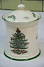 """Spode *Christmas Tree* Canister England Cookie Jar Container with Sealed Lid 9"""""""