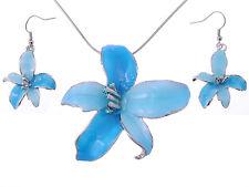 Tropical Hawaiian Fresh Flower Sky Blue Enamel Silver Tone Necklace Earring Set