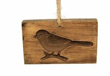 NEW wood-look carved bird hanging Christmas ornament cookie/butter mold