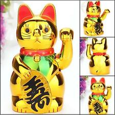 Chinese Wealth Lucky Waving Cat Beckoning Maneki Golden Powered by AA Battery