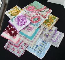 Lot of 13 Vintage Floral Handkerchiefs