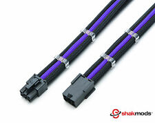 6 Pin Black Purple 30 cm PCIE PSU Extension Sleeved Cable with 2 Cable Combs