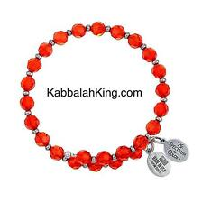 Wind & Fire 6mm Red Hyacinth Crystal With Spacer Bead Stackable Bangle Bracelet