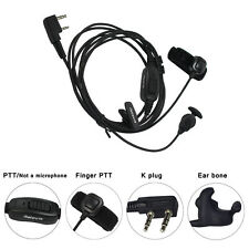 R-161 2Pin Earpiece Finger PTT Vibration Conduction For Kenwood Retevis Baofeng