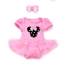 2Pcs Newborn Baby Girl Headband+Romper Dress Set Clothes Outfit Tutu Minnie 0-3M