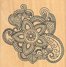 Henna Floral Abstract, Wood Mounted Rubber Stamp JUDIKINS - NEW, 3699G