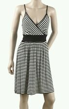 LADIES C&A STRIPED SUMMER DRESS BLACK +  WHITE SIZE SMALL RRP €19 BNWT FREE P+P