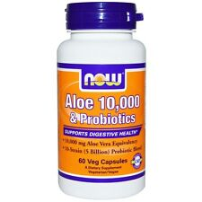 Aloe 10,000 & Probiotics - 60 Vcaps by Now Foods - Supports Digestive Health