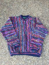 VTG 90S TUNDRA CANADA ABSTRACT 3D KNIT COOGI SWEATER BIGGIE COSBY HIP HOP OG M