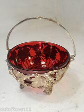 Cranberry Glass Sugar Bowl  ref 2909