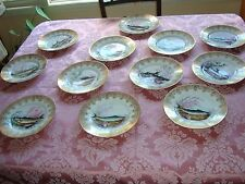 "ANTIQUE LIMOGES GUTERZ HAND PAINTED 12 PLATES FISH GAME SET 9""+BONUS SAUCE BOAT"