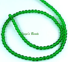 100 Green Emerald Czech Pressed Glass Round Druk Beads 4mm