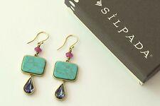 """Silpada K & R """"Carnivale"""" Cubic Zirconia Turquoise Brass Earrings KRW0047"""