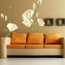 Removable Large White Lily Flower Home Living Room Art Decal DIY Wall Stickers