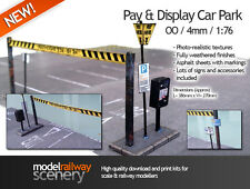 PAY & DISPLAY CAR PARK CARD KIT FOR OO GAUGE MODEL RAILWAY HORNBY 1:76 DIECAST