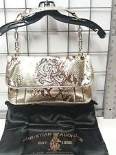 Christian Audigier Isabella Fold Over With Chain Purse 100% original Gold color