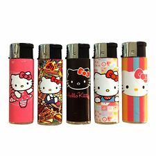5 Colored Hello Kitty Lighters Cute Pink Press Light Butane Free USA Shipping