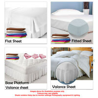 King Size bed sheets flat fitted base in a variety of Deep 24 colours