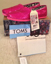 NWT Youth Kids TOMS Classic HOT PINK GLITTER Slip on Casual Shoes Girls 5