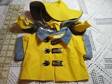 "3 pc LOT 18"" Doll Clothes Yellow/Denim Raincoat/Hat/Boots Set AS IS Spot on Coat"