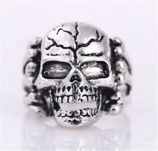 New sale Men's 316L Stainless Steel Vogue Design Mini evil skull Ring Size 11