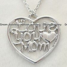 'Love You Mom'  Necklace Gift for Mother Day Christmas Birthday Present for Mum