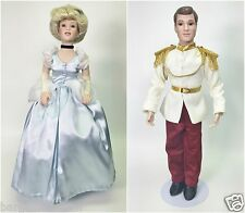 "DISNEY'S LIMITED EDITION CINDERELLA AND THE PRINCE PORCELAIN DOLL SET 21"" USED"