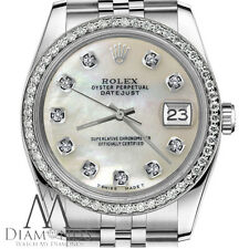 Mens Rolex 36mm Datejust White MOP Mother Of Pearl Diamond Dial Jubilee Watch