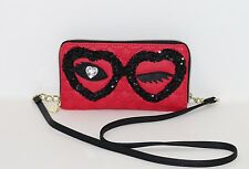 NWT Betsey Johnson Eye Blink Wallet On a String Crossbody Purse Shoulder Bag Red