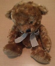 Russ Brown Bear with Plaid Bow Named Tyler 11""