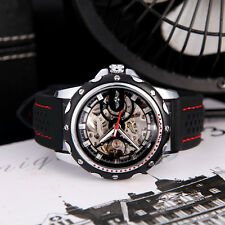 Winner Men's Skeleton Auto Automatic Mechanical Watch Silicone Wrist Band Black