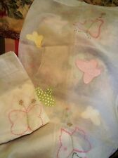 ~POTTERY BARN KIDS SOPHIE BUTTERFLY EMBROIDERED APPLIQUED SHEER CURTAINS NWOT!