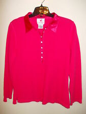 Quacker Factory Coral Top Satiny Collar Rhinestone Buttons L/S M Perfect Cond.!