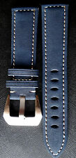 24mm PREMIUM SUEDE LEATHER WATCH BAND STRAP (COBALT BLUE /THICK STICH)