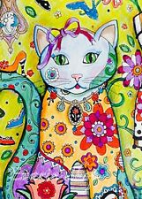 Coloring Book Adult Kid Animal Cat Design Art Page Pattern Relax Stress Therapy
