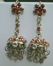 ORECCHINI INDIANI PERLINE COLOR CORALLO indian silver earrings - J4